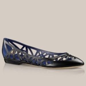 Louis Vuitton LV Leather Cutout Ballet Flats Black